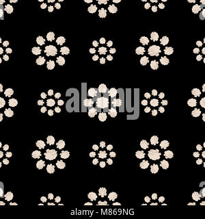 Digital art stilyzed floral motif seamless pattern design in black and white colors - Stock Photo