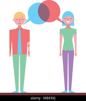 Two business people talking and discussing. flat character design. vector illustration people characters cartoon - Stock Photo