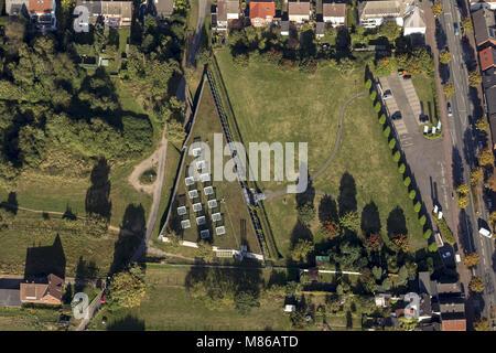 Aerial view, Roman museum Weseler Strasse Aussengelaende, Haltern am See, Ruhr Muensterland, North Rhine-Westphalia, - Stock Photo