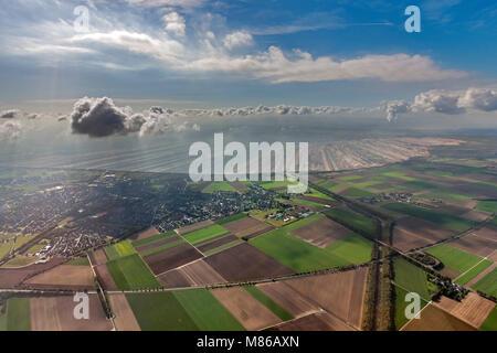 Aerial view, Hambach, lignite mining, lignite, Elsdorf, Cologne Bay, North Rhine-Westphalia, Germany, Europe, birds - Stock Photo