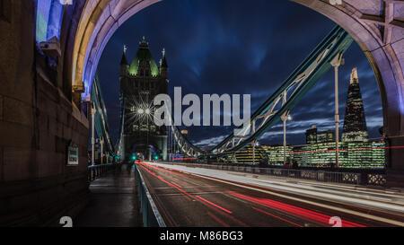 Through Tower Bridge At Dusk - Stock Photo
