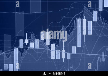 Uptrend - Stock market graph and bar chart - Financial and business background - Stock Photo