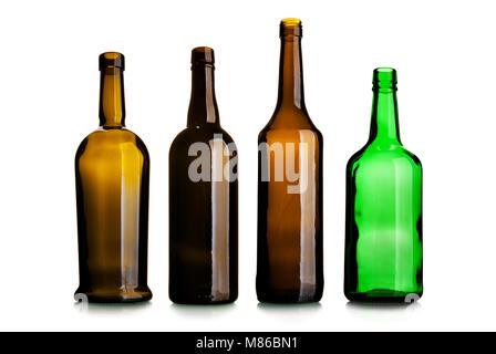 Set of empty wine bottles isolated on the white background - Stock Photo