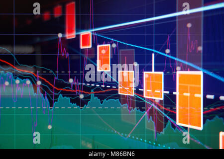 Stock market down -  red candle graphs and charts - Finance concept - Stock Photo