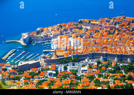 Panoramic view of Old town of Dubrovnik in Croatia - Stock Photo