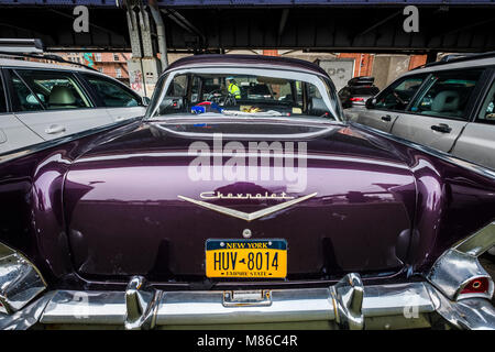 Old Chevy at lower Manhattan, New York. - Stock Photo