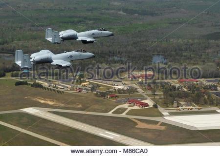 Fairchild Republic A-10 Thunderbolt II. Two Michigan Air National Guard Fairchild Republic A-10 Thunderbolt II aircraft - Stock Photo