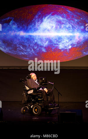Prof. Stephen Hawking, British scientist, world renowned physicist and universe projection on the screen, Starmus - Stock Photo
