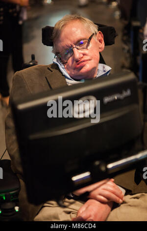 Prof. Stephen Hawking, British scientist, world renowned physicist, headshot, close up. portrait, Starmus festival - Stock Photo