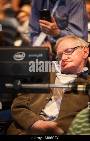 Prof. Stephen Hawking, British scientist, world renowned physicist, headshot, close up. portrait, Starmus festival - Stock Photo