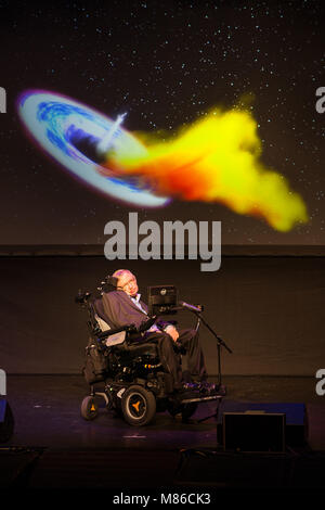 Prof. Stephen Hawking, British scientist, world renowned physicist portrait, Starmus festival 2016 Tenerife - Stock Photo