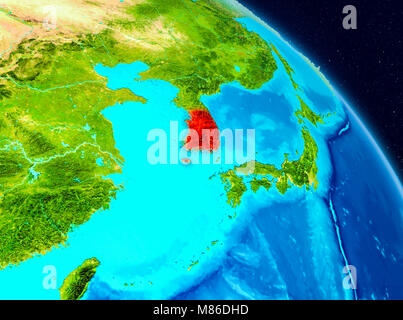 Map of south korea highlighted in red on a globe 3d illustration space view of south korea highlighted in red on planet earth 3d illustration elements gumiabroncs Images