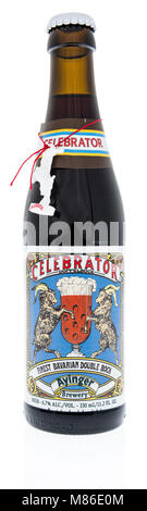 Winneconne, WI - 2 March 2018: A bottle of Celebrator beer on an isolated background. - Stock Photo