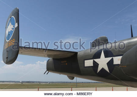 Photo taken of the Collings Foundation North American B-25J Mitchell. Aircraft History  Built by North American - Stock Photo