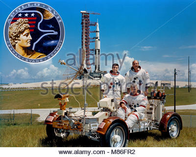 Apollo 17, Final Crewed Mission. This week in 1972, Apollo 17, the final crewed lunar-landing mission, launched - Stock Photo