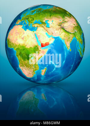 Yemen in red on model of planet Earth on reflective blue surface. 3D illustration. Elements of this image furnished - Stock Photo