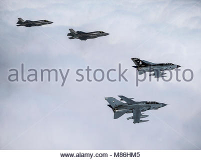 Pictured are two Tornado GR4ճ, and RAF and US Marine Corps F35-Bճ.  The image was taken on an historic day for the - Stock Photo