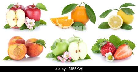 Fruits apple orange apples oranges strawberry fresh fruit collection isolated on a white background - Stock Photo