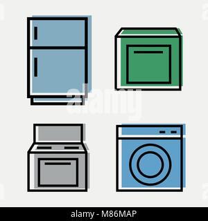Kitchen Appliances Web - set of 4 icons - fridge, plate, Washer, Dishwasher - Stock Photo