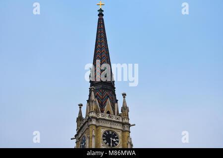 Novi Sad, Serbia. February 8, 2017. Spire of  The Name of Mary Church (Crkva imena Marijinog) - Stock Photo