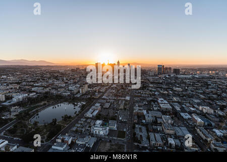 Los Angeles, California, USA - February 20, 2018:  Aerial morning view of the Westlake neighborhood, MacArthur Park and downtown LA. Stock Photo