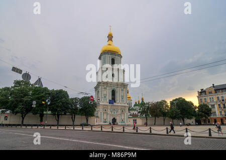 Kiev, Ukraine - June 26, 2009: View of Saint Sophia Cathedral Bell Tower in Kiev, Ukraine. Sophia Cathedral (Eastern - Stock Photo