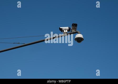 CCTV and sky. CCTV Camera security operating - Stock Photo