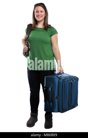 Young woman with luggage travel traveling vacation holidays smiling isolated on a white background - Stock Photo