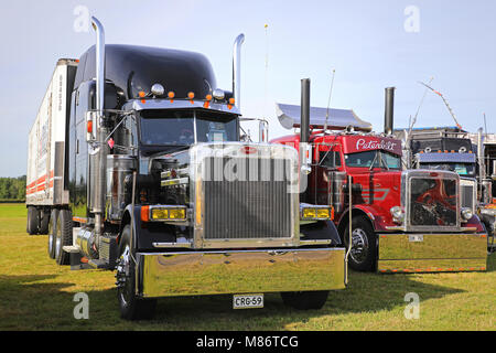 ALAHARMA, FINLAND - AUGUST 11, 2017: Classic conventional Peterbilt trucks on display on Power Truck Show 2017. - Stock Photo