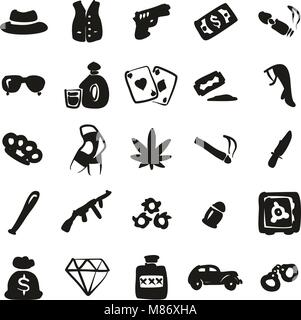 Gangster Icons Freehand Fill - Stock Photo