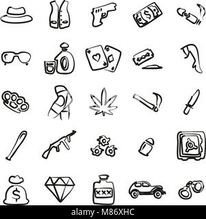 Gangster Icons Freehand - Stock Photo