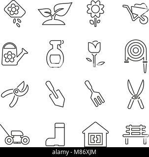 Gardening Tools & Equipment Icons Thin Line Vector Illustration Set - Stock Photo