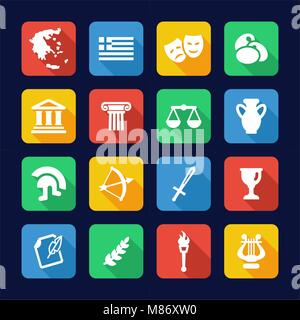 Greece Icons Flat Design - Stock Photo