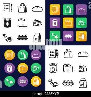 Grocery List All in One Icons Black & White Color Flat Design Freehand Set - Stock Photo
