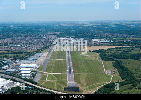 Southampton (Eastleigh) Airport from the air - Stock Photo