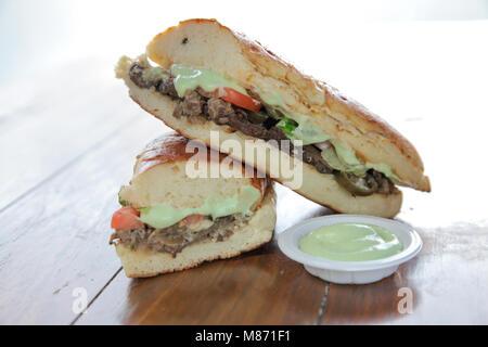 Wasabi beef sandwich japanese style - Stock Photo