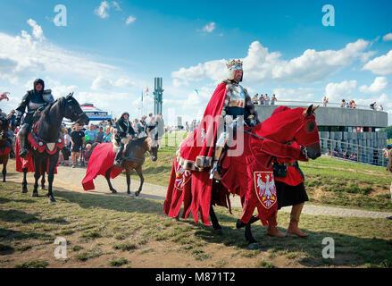 Polish King Jogaila - Wladyslaw Jagiello (Jacek Szymanski)   - 601th anniversary of Battle of Grunwald 1410. 4000 - Stock Photo