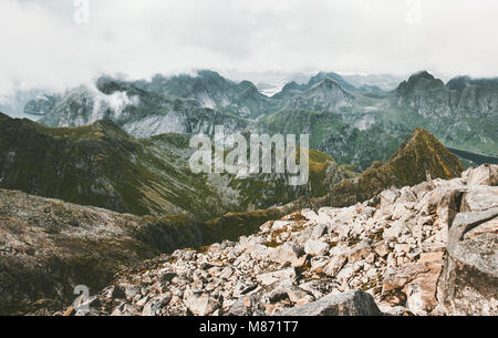 Mountains range Landscape aerial view in Norway from summit of Hermannsdalstinden the highest mountain on the island - Stock Photo