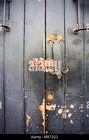 Wooden antique door in Santo Domingo. Dominican Republic - Stock Photo