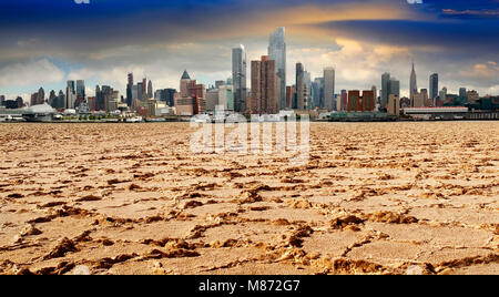 A general view of lower New York City - Manhattan from ferry in a cloudy morning, in New York City - Stock Photo