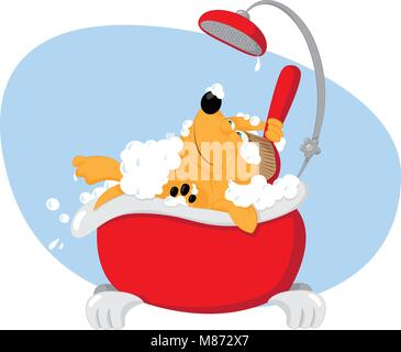 a vector cartoon representing a cute funny dog taking a bath in a bathtube and using a backscrubber - pet grooming - Stock Photo