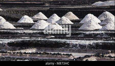 Sea salt production on Lanzarote, 'las Salinas de Janubio' - Stock Photo