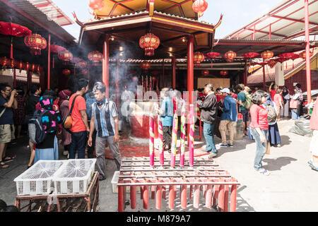 Jakarta, Indonesia - February 16 2018: People celebrate Chinese new year in the Jin De Yuan temple in Glodok, Jakarta - Stock Photo