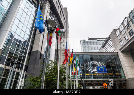 Big administrative building in Brussels / Belgium / 06.27.2016. The European Parliament. Editorial use only. flags - Stock Photo