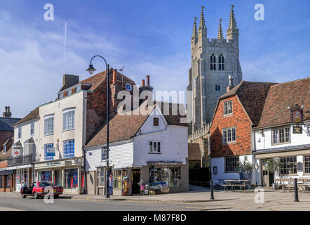 Tenterden high street with St Mildreds church dominating the skyline - Stock Photo