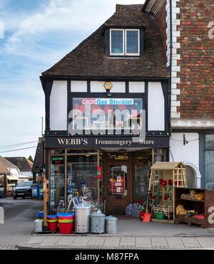 Traditional ironmongers, Tenterden high street, Kent UK - Stock Photo