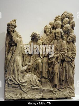 The Raising of St. Lazarus. Sculptural group. Workshop of Heinrich Brabender, Westphalia, 1510-1520. Baumberg sandstone - Stock Photo
