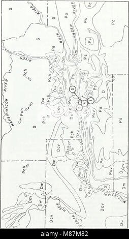 Early Pennsylvanian paleotopography and depositional environments, Rock Island County, Illinois (1985) (20934643230) - Stock Photo