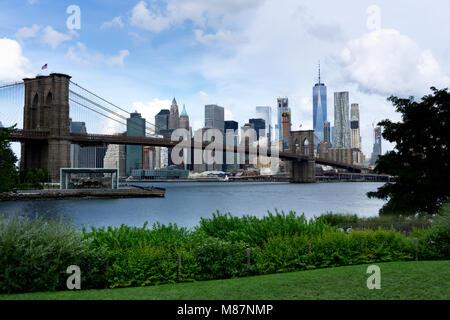 View on Brooklyn Bridge and Lower Manhattan