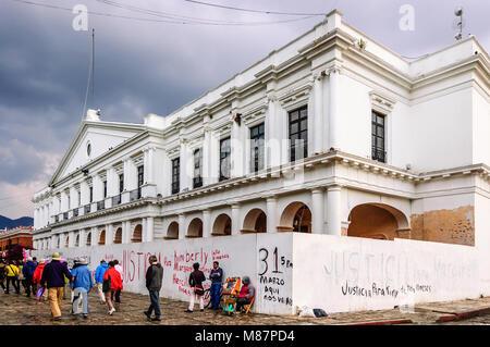 San Cristobal de las Casas, Mexico - March 24, 2015: Outside Palacio Municipal home of city hall on Plaza 31 de - Stock Photo